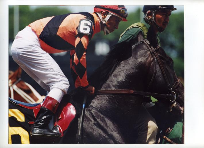 Robert Taylor Brewer photographs jockey Edgar Prado at Belmont Park